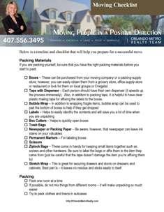 Moving Checklist Orlando Metro Realty EL